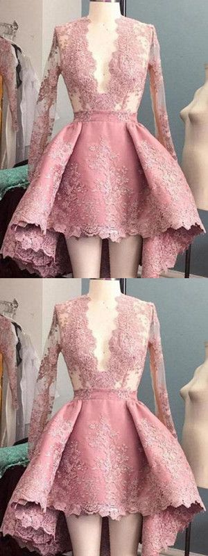 Long Sleeves Homecoming dress Pink Lace Cheap Homecoming Dress ER012