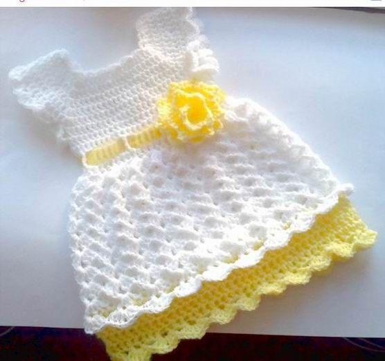 Crochet dress pattern size newborn to toddler , easy baby dress, crochet girl…