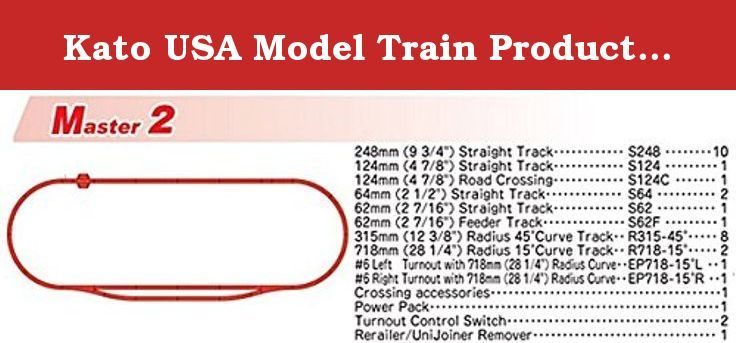 Kato USA Model Train Products M2 UNITRACK Basic Oval and Siding with Kato Power Pack. The Kato UNITRACK Master (M) and Variation (V) sets are the ultimate expansion track sets, perfect for beginners who are looking to get started in the hobby, while also providing complex structures for those seeking to create more complex and advanced layouts! Starting with the base Master Set, you can expand to create any layout you desire by adding as many Variation sets or individual unitrack pieces…
