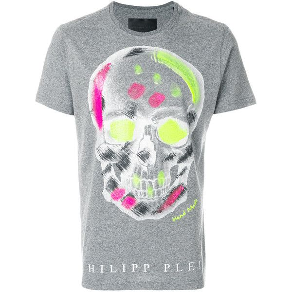 Philipp Plein Handmade T-shirt (1.935 BRL) ❤ liked on Polyvore featuring men's fashion, men's clothing, men's shirts, men's t-shirts, grey, mens skull t shirts, philipp plein men's t shirt, mens skull shirts, men's round neck t shirts and mens grey short sleeve shirt