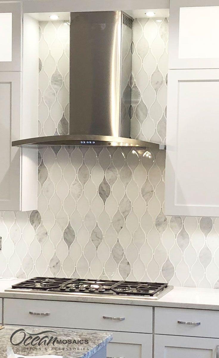 Love Love Love This White Teardrop Kitchen Backsplash Designed With Our Chandelier Carrara Whit Kitchen Tiles Backsplash Backsplash Arabesque Rustic Kitchen