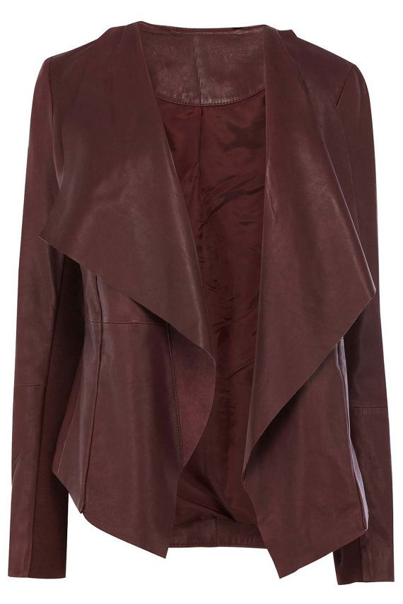 Women Maroon color real leather jacket women by Myleatherjackets, $159.99