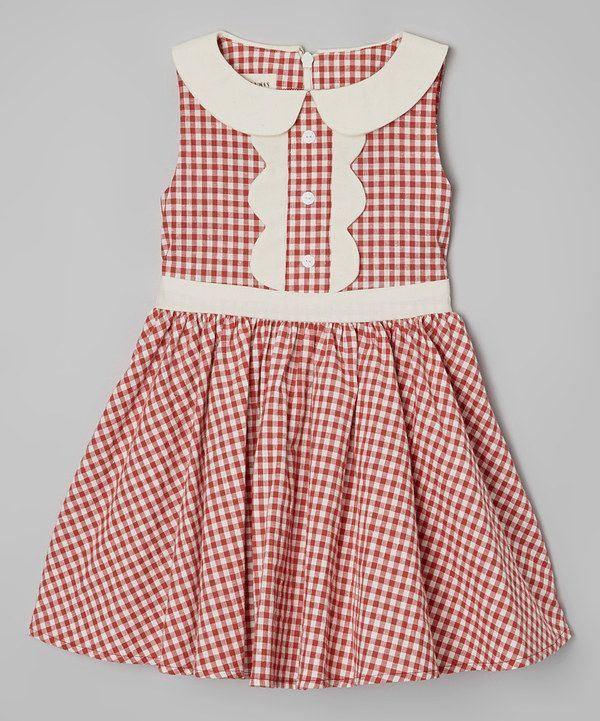 Look at this Le Bees Knees Strawberry Gingham A-Line Dress - Toddler on #zulily today!