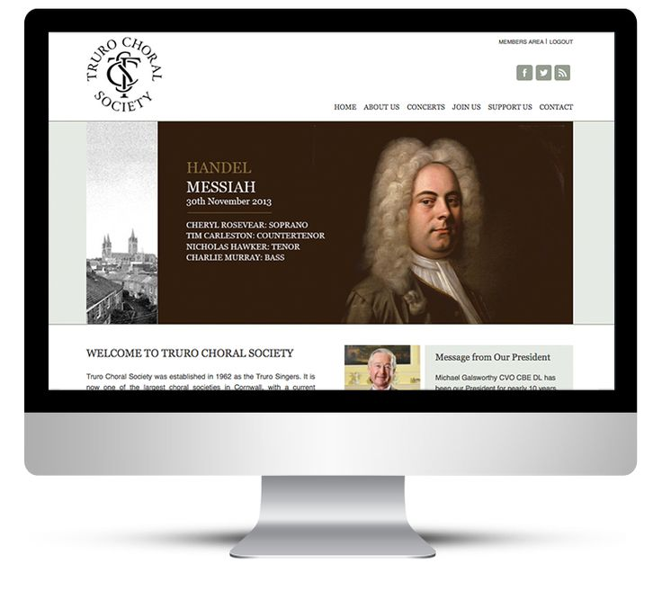 Web design for Truro Choral Society