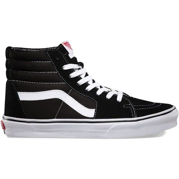 Vans Sk8-Hi (505 HKD) ❤ liked on Polyvore featuring men's fashion, men's shoes, men's sneakers, shoes, sneakers, vans, black, mens canvas sneakers, mens high top sneakers and mens canvas shoes