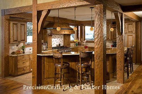 Custom kitchen in a timber frame home precisioncraft for Timber frame kitchen