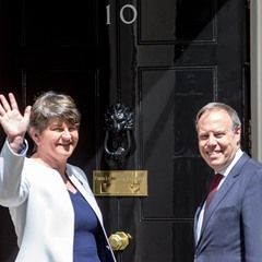 DUP leader Arlene Foster arrives at Downing Street for talks with Theresa May