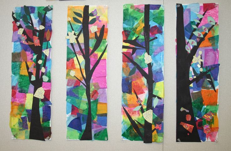 Tissue paper tree collageTrees Art, Art Lessons, Art Ideas, Tissue Paper Trees, Tissue Paper Art, Paper Collage, Collage Tree, Art Projects, Stained Glasses
