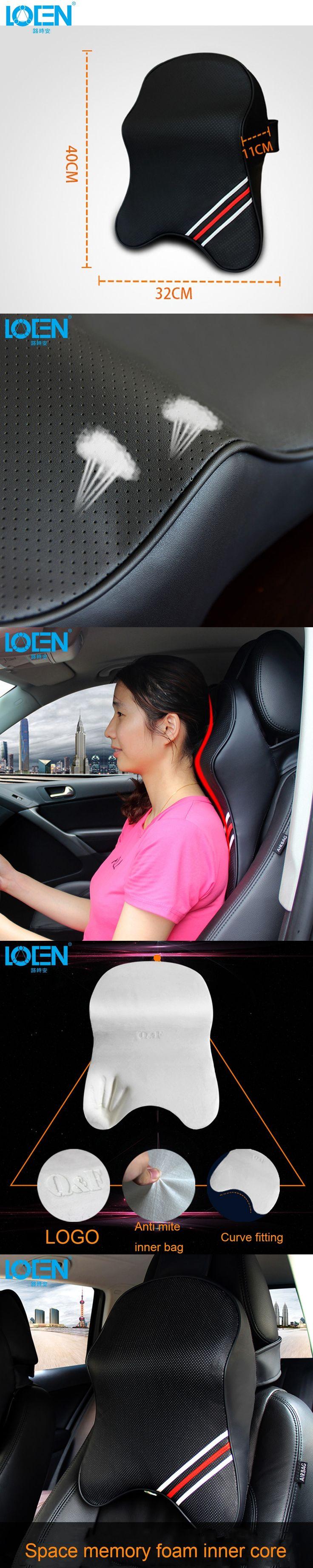 3D Memory Foam Car Leather Neck Pillow Super Auto Seat Cover Head Neck Rest Cushion Headrest Car Care Cervical Flax Cloth