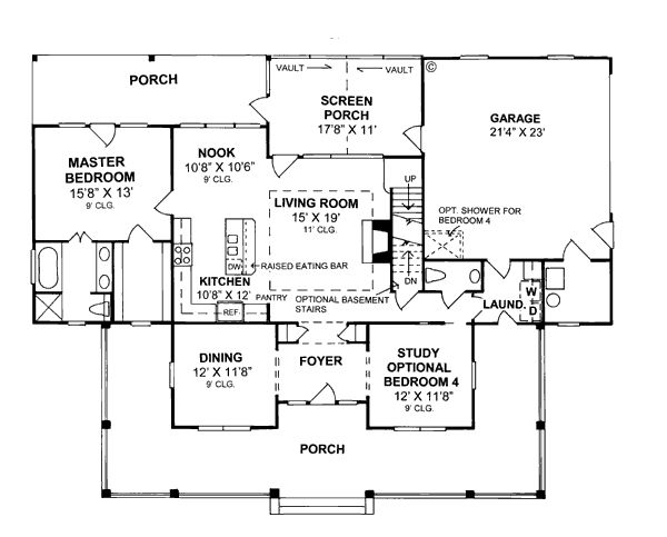 Captivating First Floor Plan Of Country Farmhouse House Plan Living Area: 1980 Main  Living Area: 1467 Upper Living Area: 513 Bonus Area: 340 Garage Type:  Attached ...
