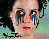 Conjunto de gotas de ojo de arco iris - temporal traje tatuajes maquillaje - Halloween