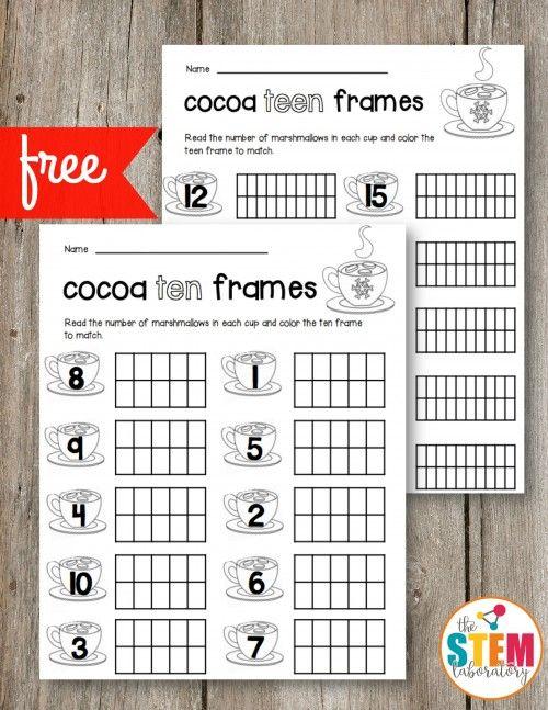 Free Cocoa Ten Frames and Teen Frames. Perfect for a winter unit, a preschool math center or kindergarten math activity!