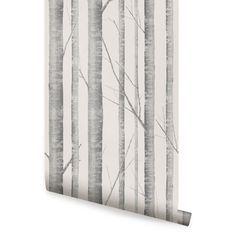Birke Baum Warm grau Peel & Stick Stoff Tapete repositionierbar