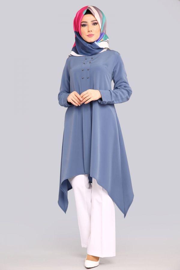 Verev Kesim Tunik Pl815 Indigo Moda Stilleri Musluman Modasi Kadin Modasi Elbiseler