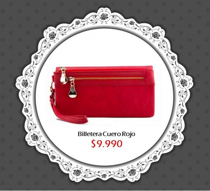 Billetera cuero roja Tienda MyFavorite_4d / only beautiful things www.facebook.com/myfavorite4d