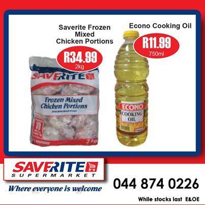 This weekend Specials from Saverite Supermarket York Street. Time to save on 750ml Econo Cooking oil selling for only R11.90 a bottle and 2kg IQF Chicken now sells for only R34.99 a bag. Don't delay, get down to the store today. #supermarket #groceries