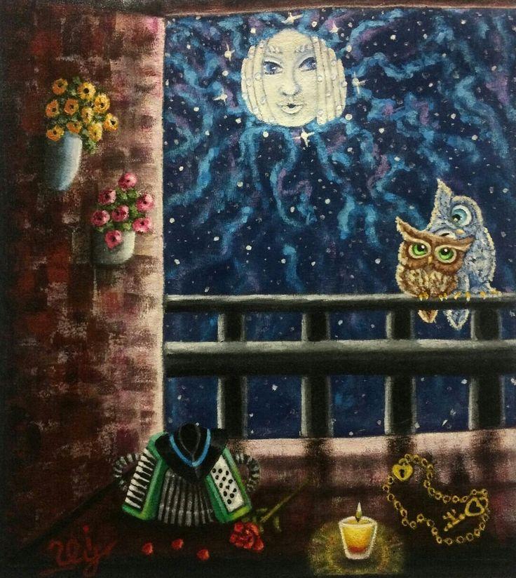 El balc n de la luna ii pintura textil en camiseta de - El balcon de la luna ...