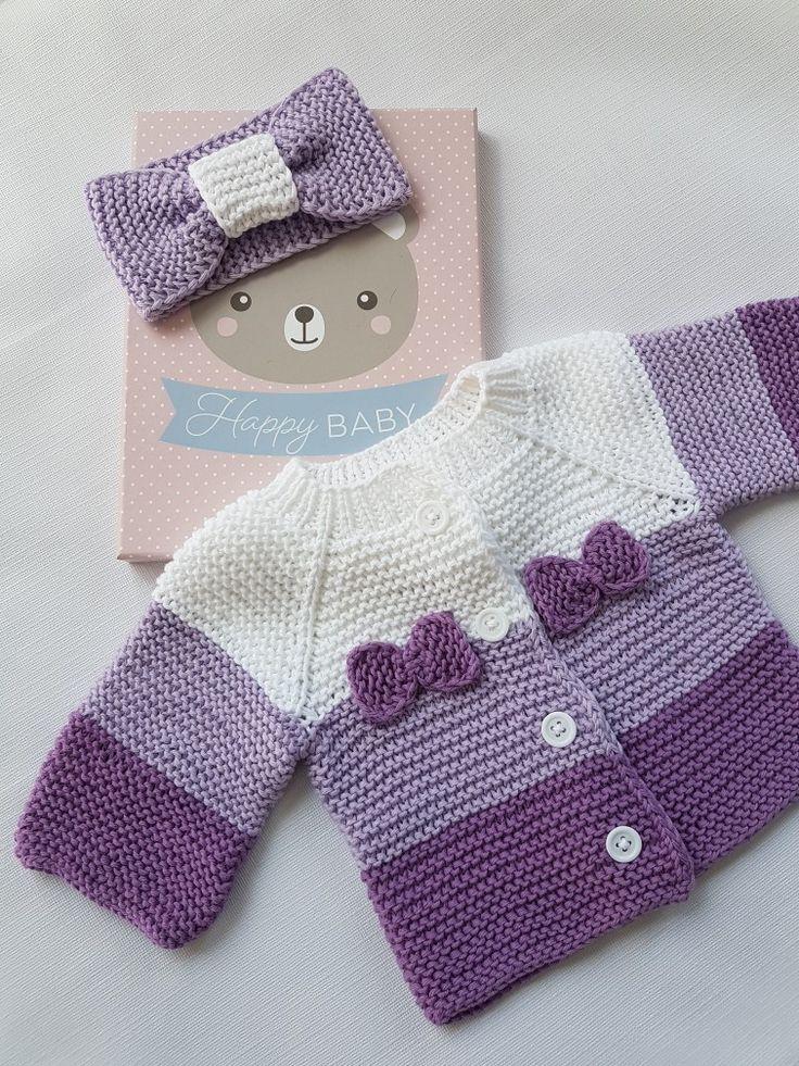Veste bébé blanche violette   – babyjacken