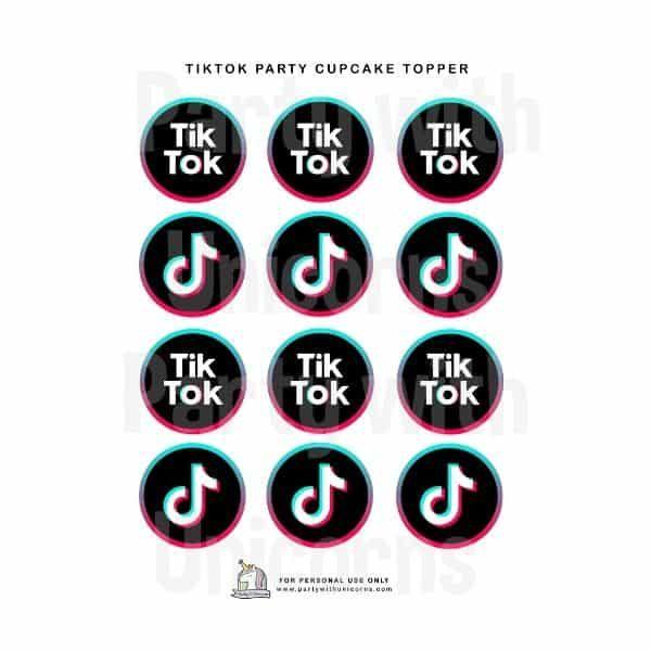 "TikTok Inspiré 2/"" X 15 Cerise//Gaufre Comestible Cupcake Toppers"