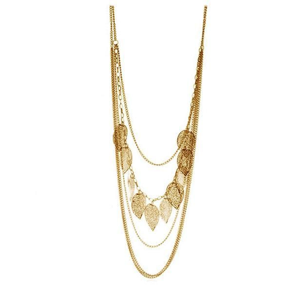 Silent Whisper Necklace - Multilayer Boho Necklace featuring some leaves. Available in Gold, Silver & Antique Silver