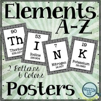 "Classroom posters that spell out the word ""Think"" using Elements from the Periodic Table.  Great for any science class, science unit, or science centers.  Can be used as classroom decor or as bulletin board elements.  ""Think"" is spelled out entirely using 4 elements."
