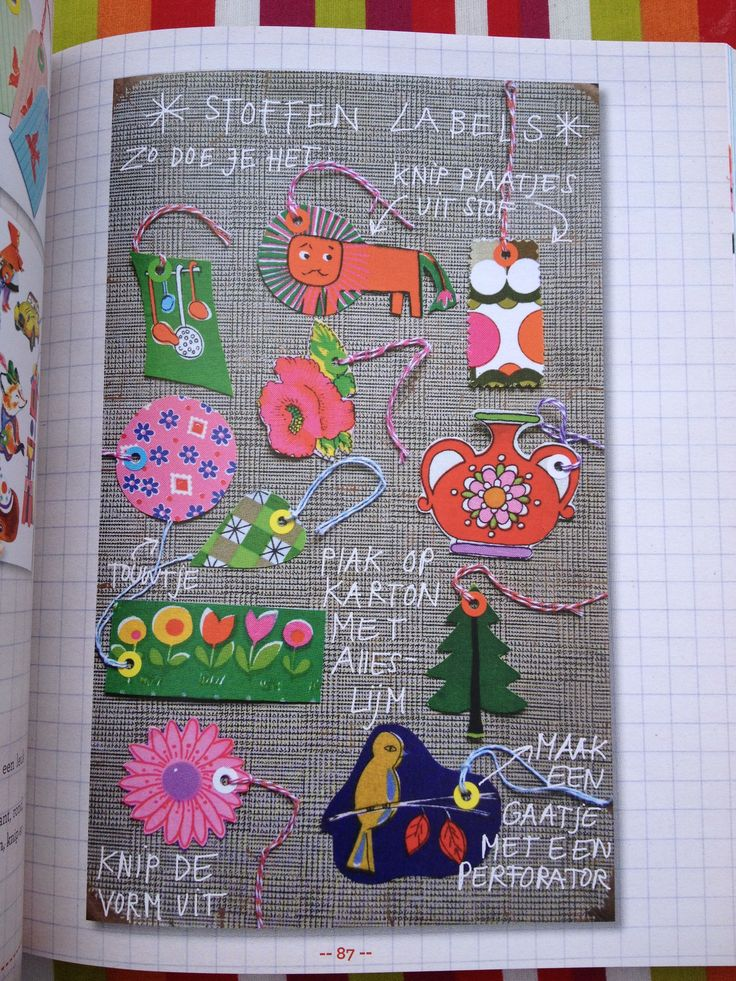 Lovely labels by ingthings, from her book Kringloopgeluk (recycled happiness).