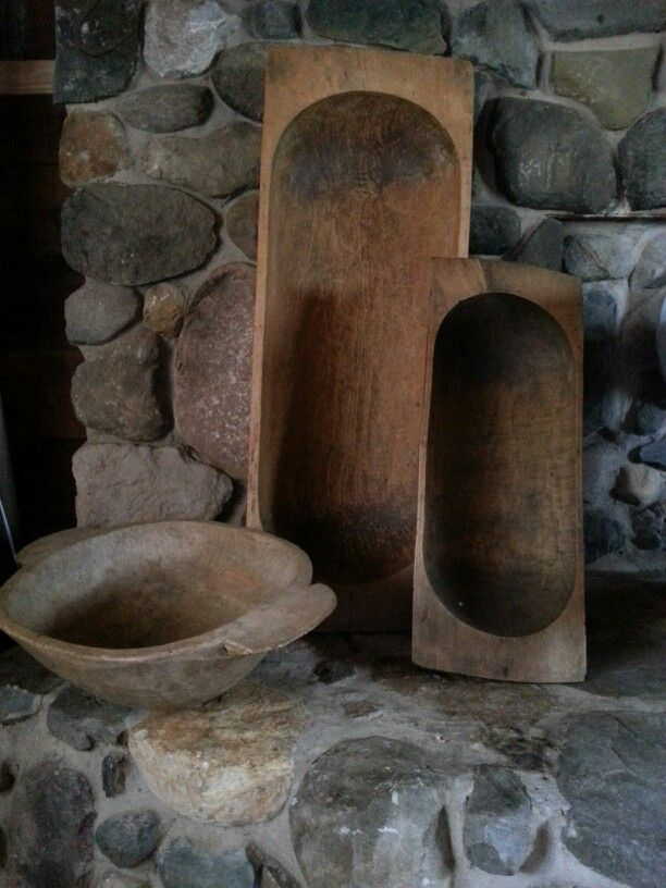 Dough bowls  - wonderful patina, esp the one on the far right