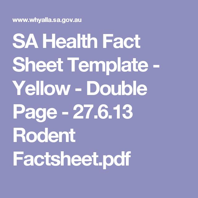 SA Health Fact Sheet Template - Yellow - Double Page - 27613 - fact sheet templates