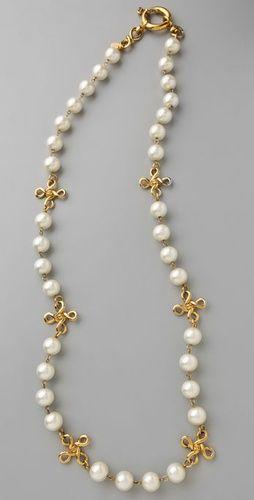 WGACA Vintage Vintage Chanel 93 Pearl Cross Necklace