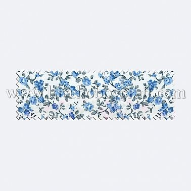 vintage printed flower woven fabric with leaves light sky blue polyester