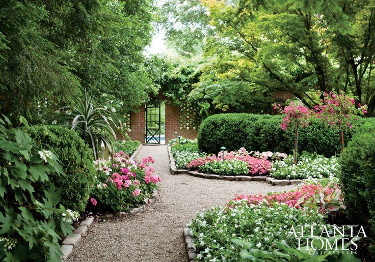 No Grass Backyard Flower Beds Pebble Pathways Lush