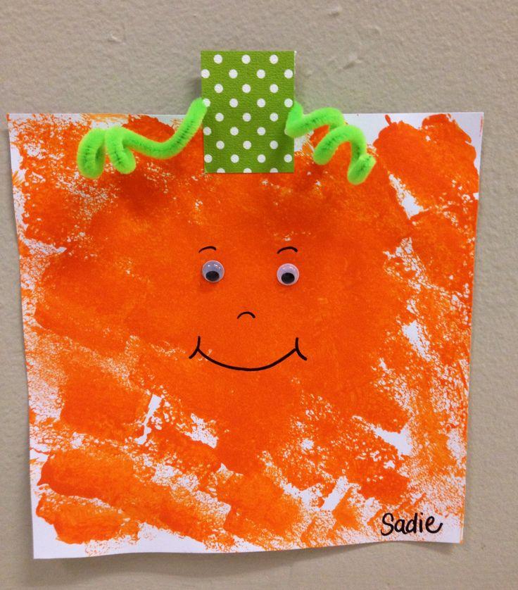 Spookley, the Square Pumpkin Sponge painting