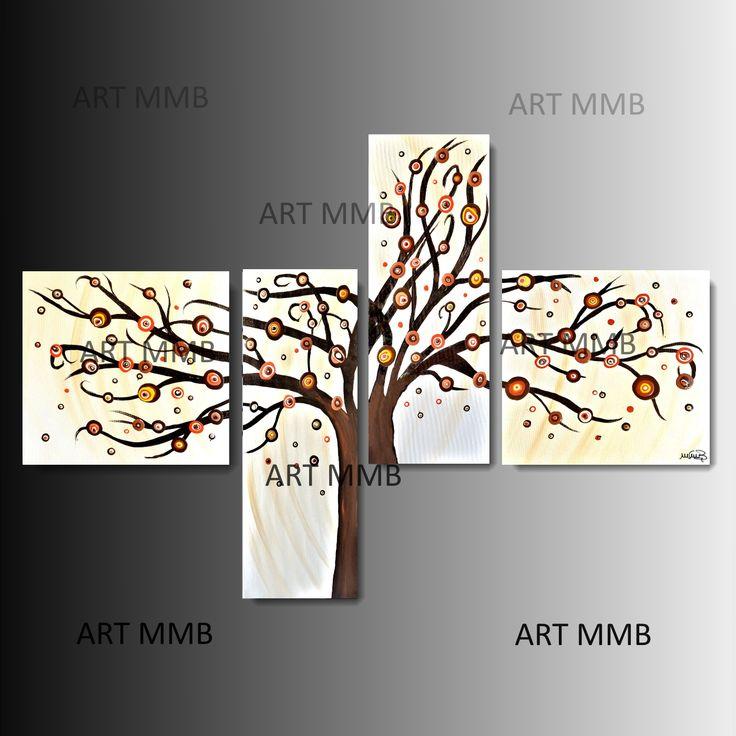 Produzione Quadri moderni astratti 100% dipinti a mano. 4 Quadri Moderni Astratti Toni del marrone arancione giallo beig bianco nero