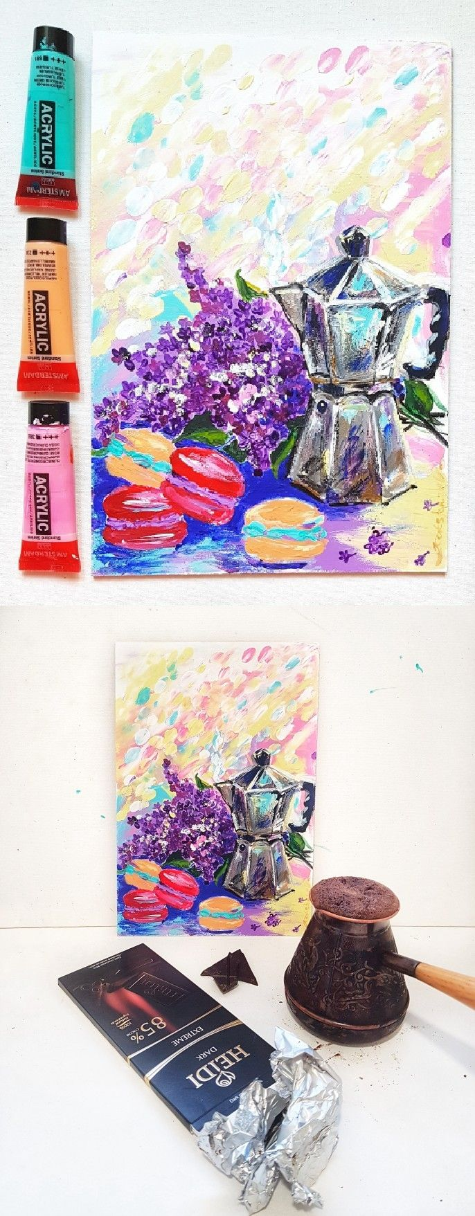 Lilac, coffee, macarons - original acrylic painting on board. Kitchen decor, gift for coffee lovers. #kitchen #kitchendecor #art #painting #originalpainting #coffee #macarons