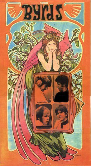 Byrds 1968. Artist: Bob Masse. Canadian artist Bob Masse began his career doing posters for folk acts that came through town, in exchange for free drinks, tickets, and the opportunity to meet the musicians. As the folk genre morphed into rock, he helped pioneer the emerging psychedelic art genre. He was greatly influenced by the art and music scenes in Los Angeles and San Francisco.