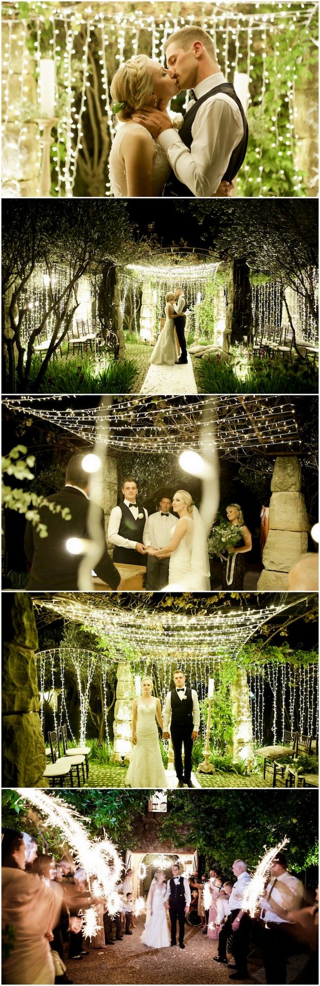 Their outdoor night wedding ceremony set the night alight with magic thanks to twinkling fairy lights, sparklers + an intimate night wedding reception. via @confettidaydreams
