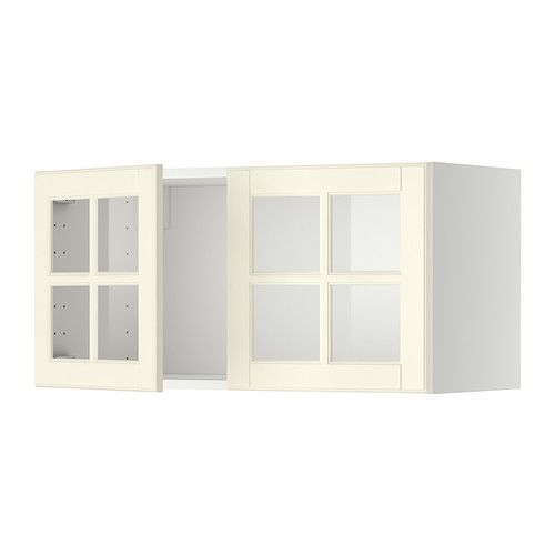 Metod wall cabinet with 2 glass doors white bodbyn off for Glass kitchen wall units