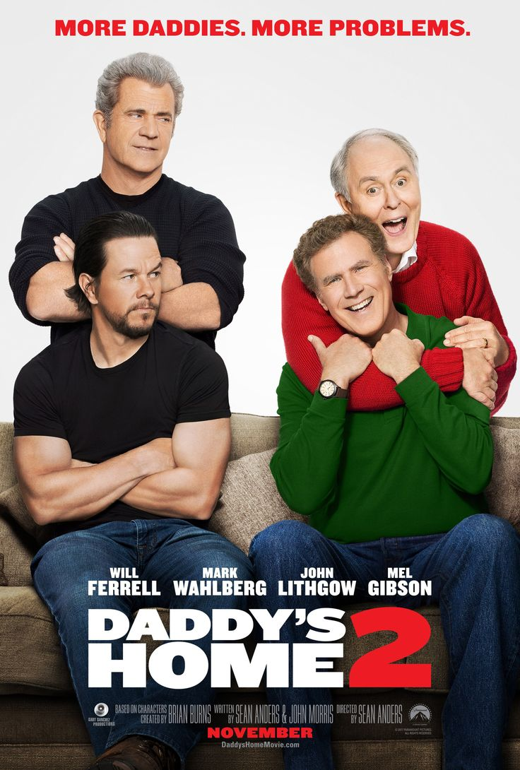 Daddy's Home 2 (PG) Available 28 Feb – Outdoor from 28 May. Comedy, Rated PG, 100 Minutes. Starring: Will Ferell, Mark Wahlberg, Mel Gibson, John Lithgow Father and stepfather Dusty and Brad join forces to make Christmastime perfect for the children. Their newfound partnership soon gets put to the test when Dusty's old-school, macho dad and Brad's gentle father arrive to turn the holiday upside down. After a sudden change in plans, the four men decide to take the kids to a