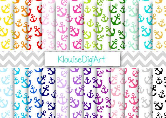 Rainbow and Pastel Nautical Anchors on White by KlouiseDigiArt
