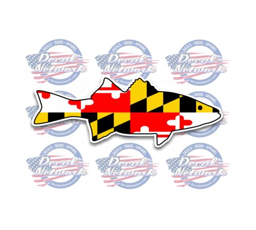 Maryland Flag Striped Bass Rock Fish Decal Custom Vinyl Decals - Custom vinyl boat decals online