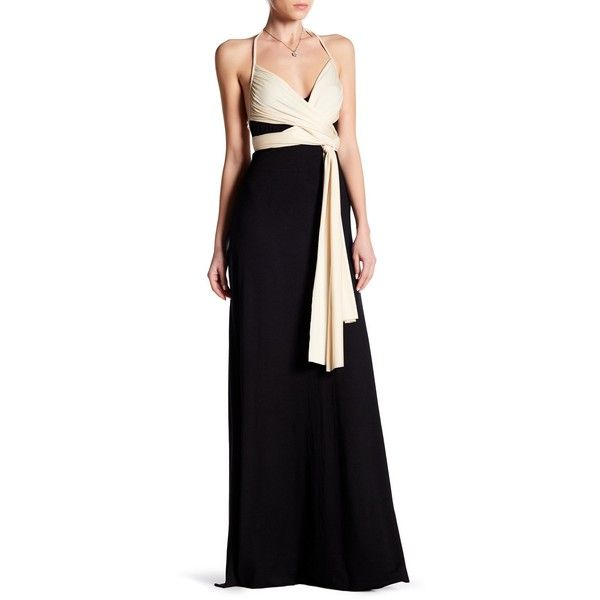 Rachel Pally Two-Tone Halter Maxi Dress ($110) ❤ liked on Polyvore featuring dresses, halter dress, rachel pally dress, two tone maxi dress, halter neck maxi dress and color block dress