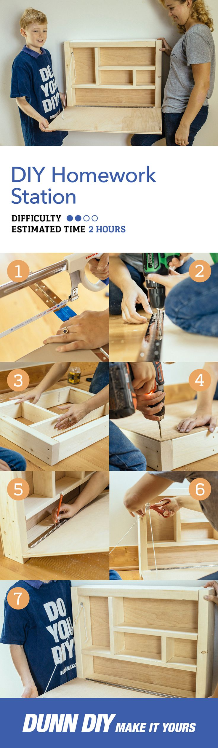 It's that time of year again. Book reports, long division, and art projects. We've created a fun diy homework station that's a perfect fall weekend project. This desk is easy to make, takes up minimal space, and provides a personal little nook for your student to do homework.