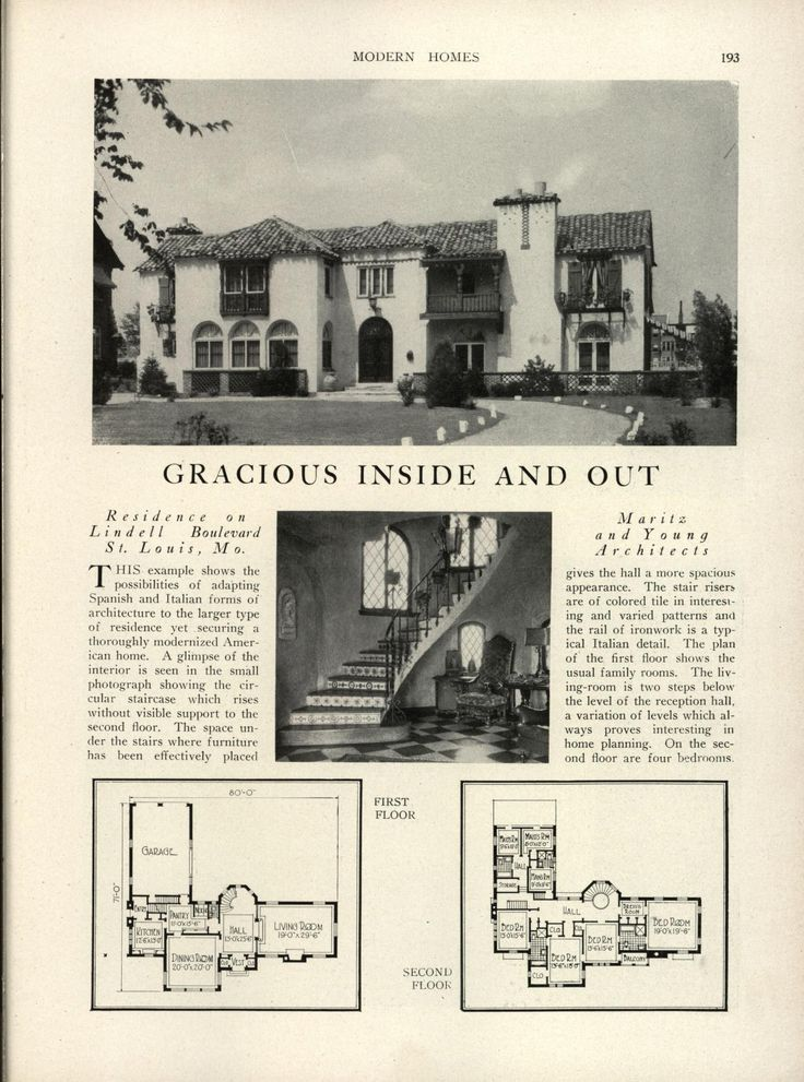 """Modern homes: their design and construction - Three servant's rooms with two baths on the second floor, behind the family bedrooms, over the garage, with private stairs access to one room, labeled """"Man's Room,"""" the one more towards the front of the house. This has its own bath with shower, the other two share a hallway bath. There is NO connection between this room and the rest of the upstairs rooms."""