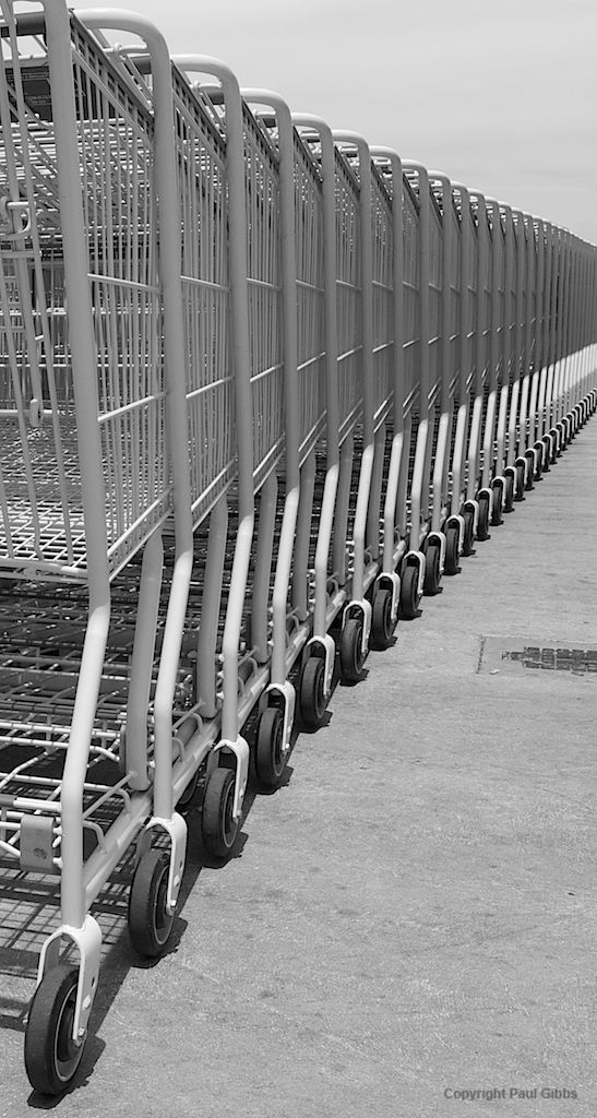 Looking down the photograph, you can see the everlasting row of shopping carts. The constant image of the wheels and sides of the shopping cart repeat itself, therefore representing repetition.