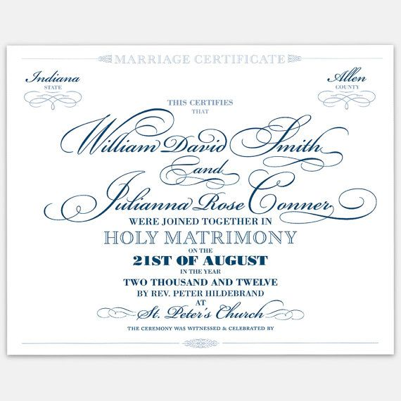 Decorative marriage certificate wedding certificates
