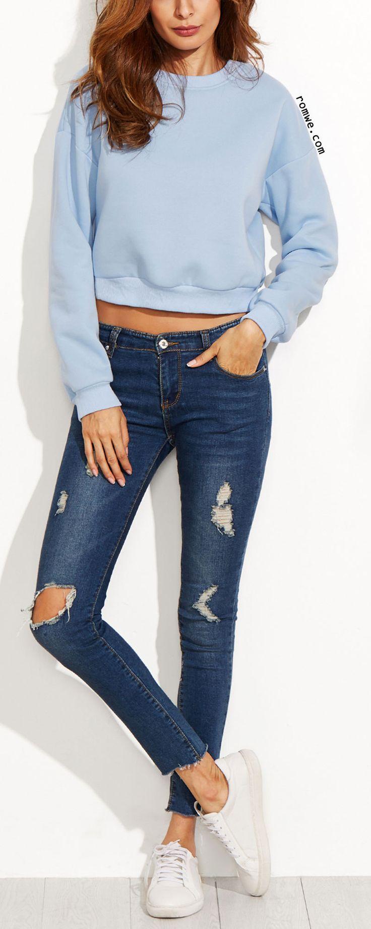 Blue Drop Shoulder Crop Sweatshirt