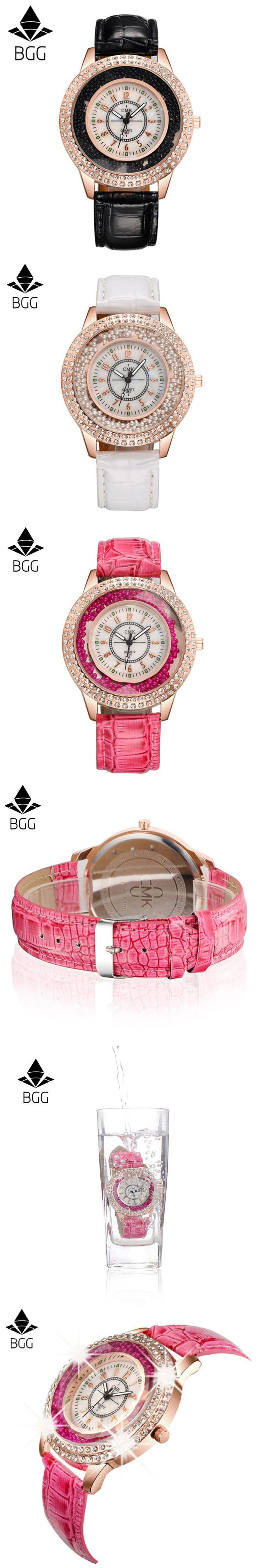 BGG 2017 Relogio Feminino Quartz Fashion Simple Watch Leather Strap Crystal Rhinestone Gift Wristwatch Waterproof Hot Sale Watch