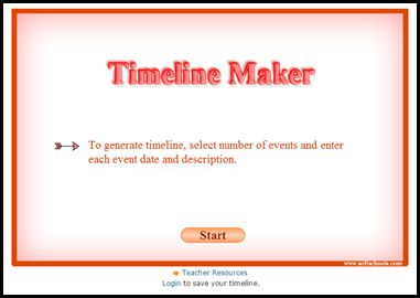Timeline Maker – Generate a timeline with up to twelve events by simply inserting dates and descriptions in chronological order.  This timeline can then be printed and used in class. Interactive online