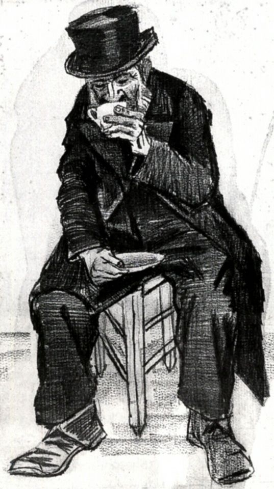 Orphan Man with Top Hat, Drinking Coffee, 1882, Vincent van Gogh Medium: pencil, chalk on paper