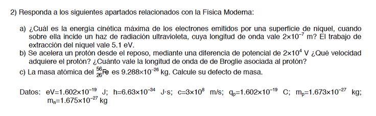 Ejercicio de física, efecto fotoeléctrico